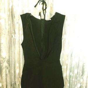TOBI Sexy mini black dress with neck string tie